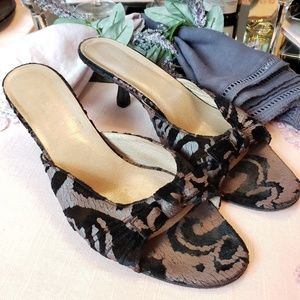Gucci Black and Silver Suede Kitten Heels Size 9B